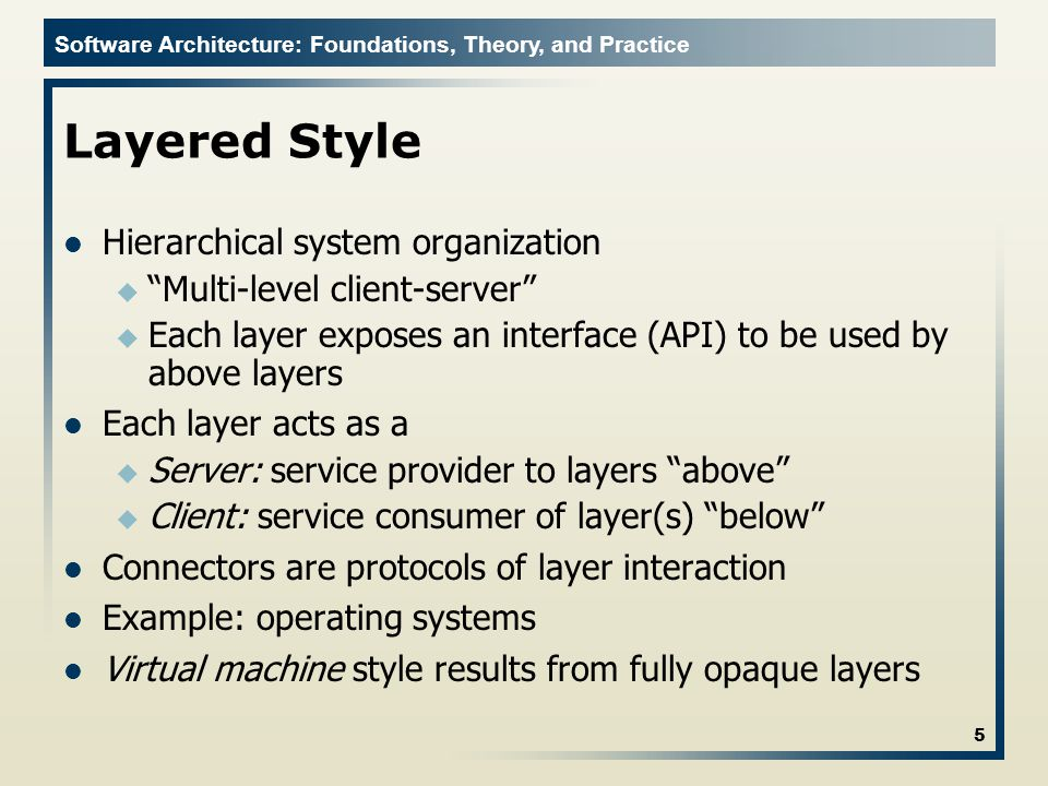 Layered Style Hierarchical system organization