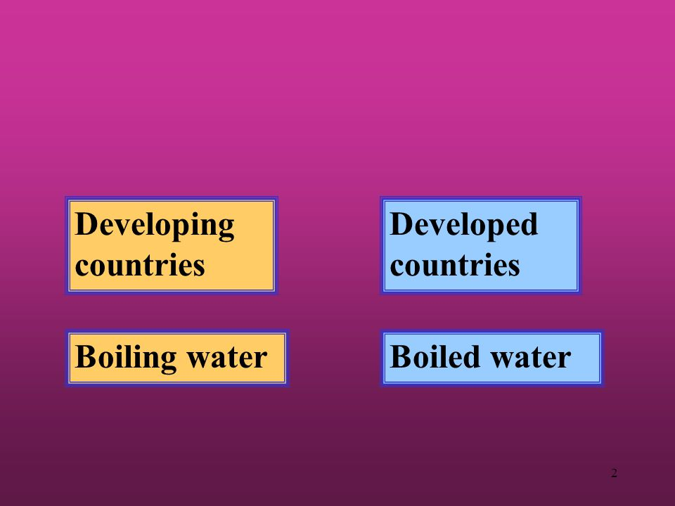 Developing countries Developed countries Boiling water Boiled water