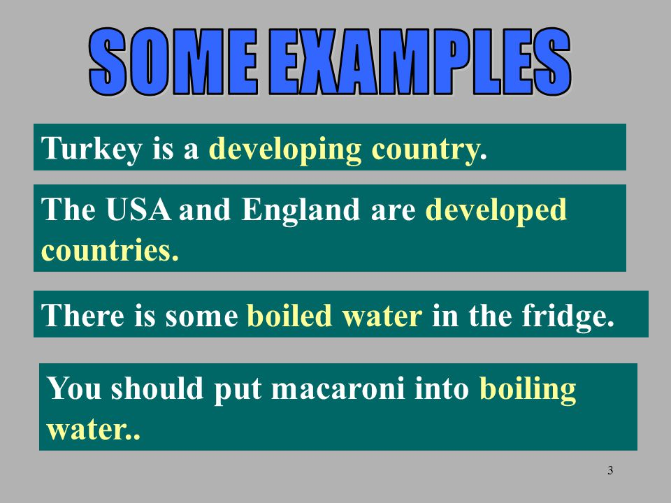 SOME EXAMPLES Turkey is a developing country. The USA and England are developed countries. There is some boiled water in the fridge.
