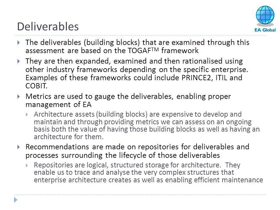 Deliverables The deliverables (building blocks) that are examined through this assessment are based on the TOGAFTM framework.