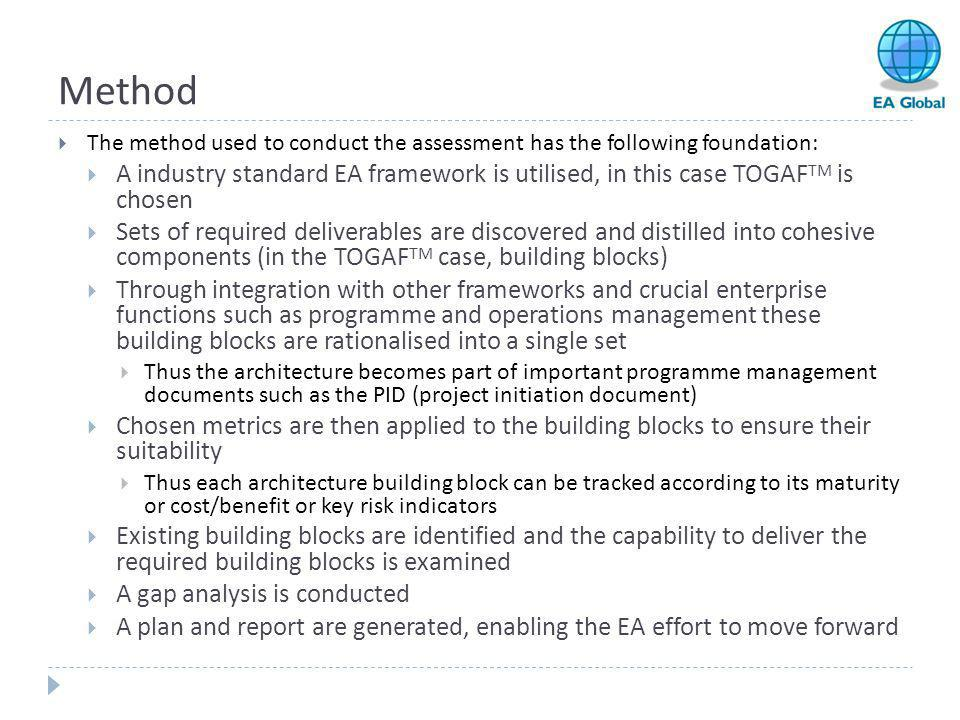 Method The method used to conduct the assessment has the following foundation: