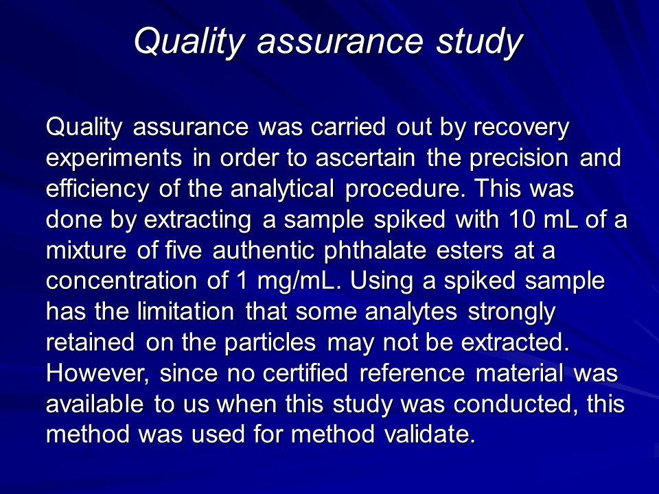 Quality assurance study