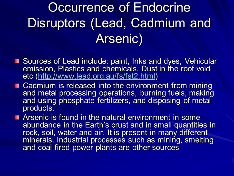 Occurrence of Endocrine Disruptors (Lead, Cadmium and Arsenic)
