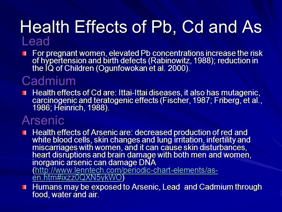 Health Effects of Pb, Cd and As