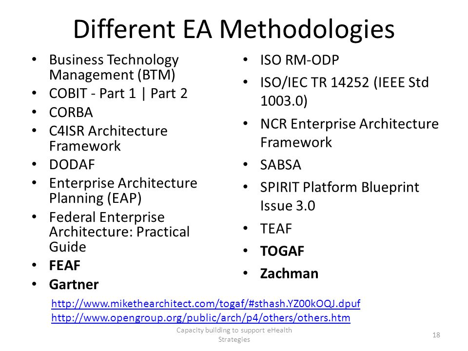 Different EA Methodologies