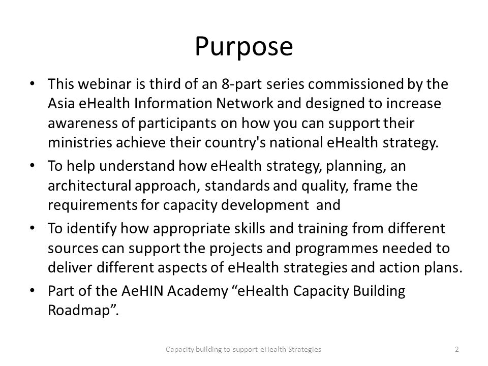 Capacity building to support eHealth Strategies