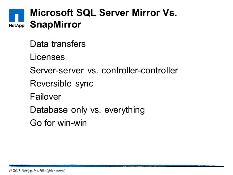 Microsoft SQL Server Mirror Vs. SnapMirror
