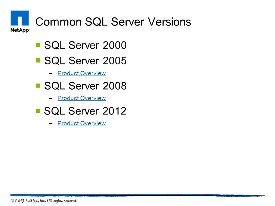 Common SQL Server Versions