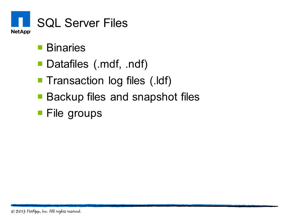 SQL Server Files Binaries Datafiles (.mdf, .ndf)
