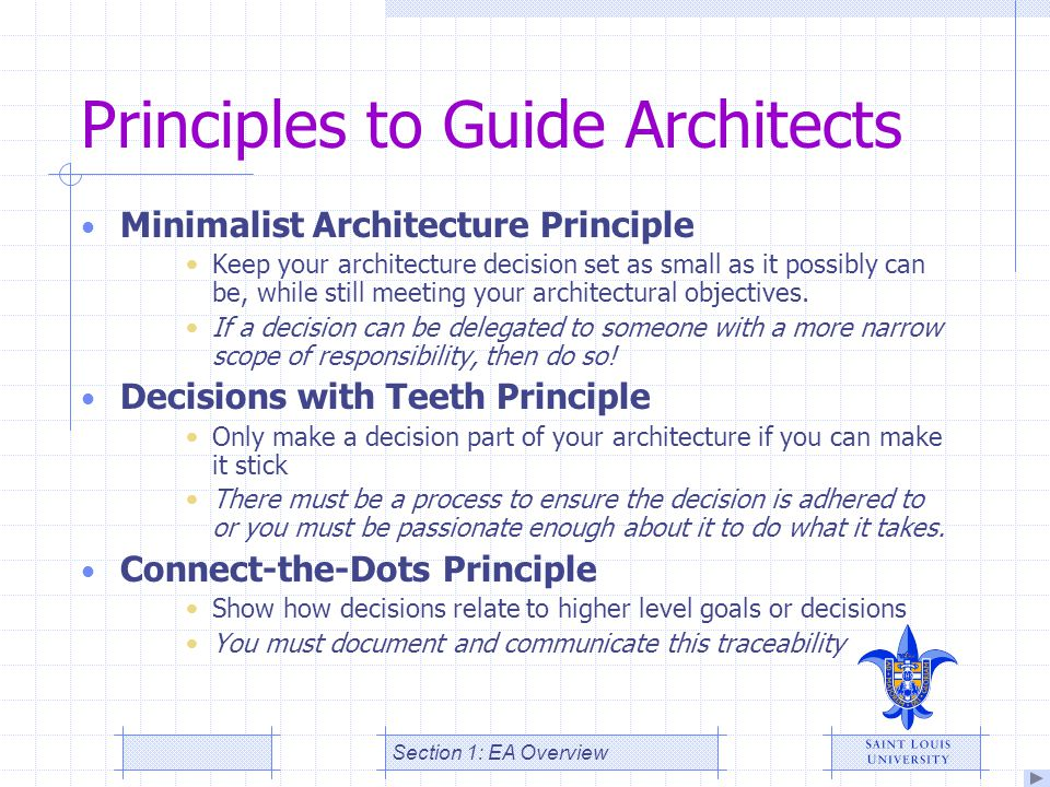 Principles to Guide Architects