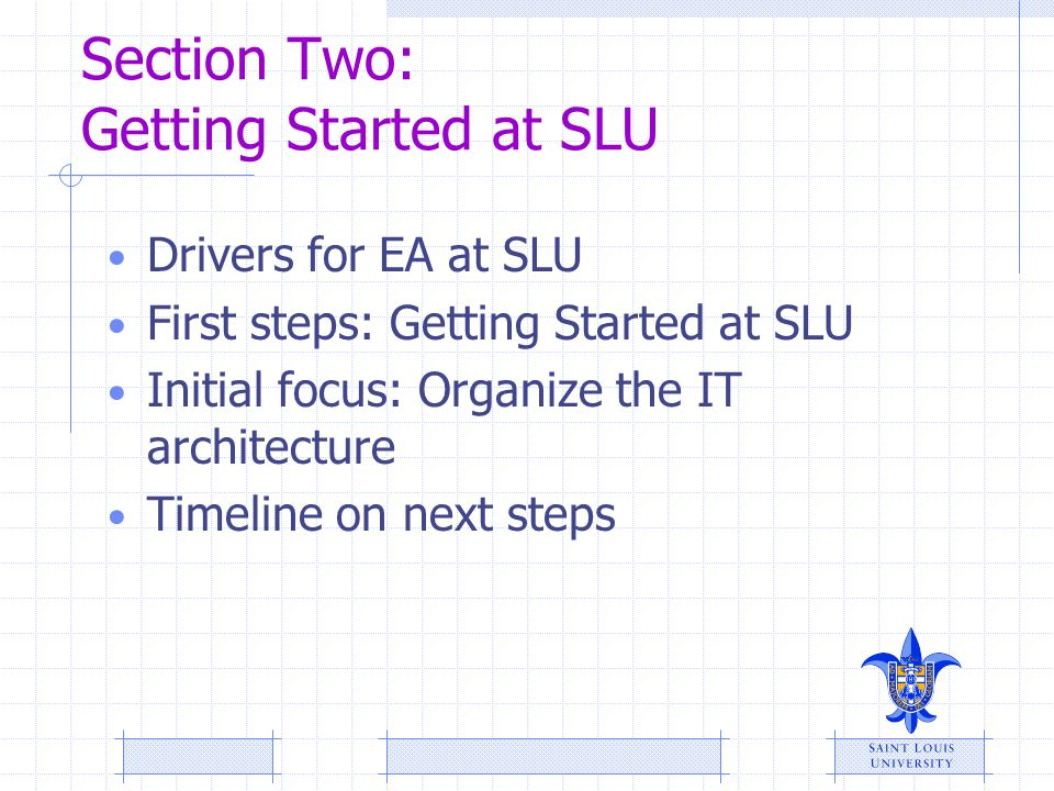Section Two: Getting Started at SLU