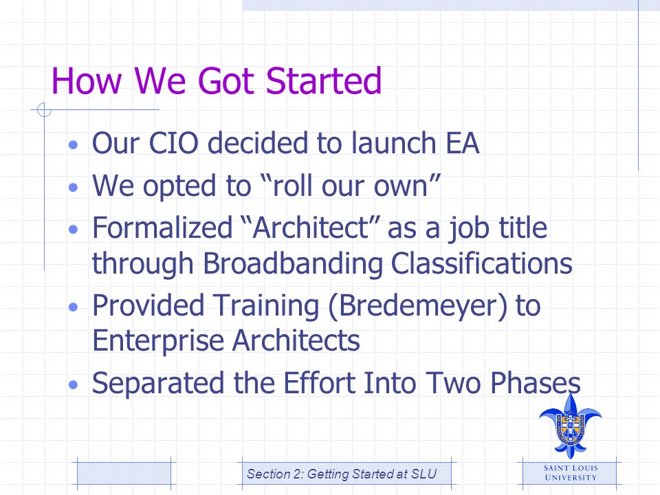 How We Got Started Our CIO decided to launch EA