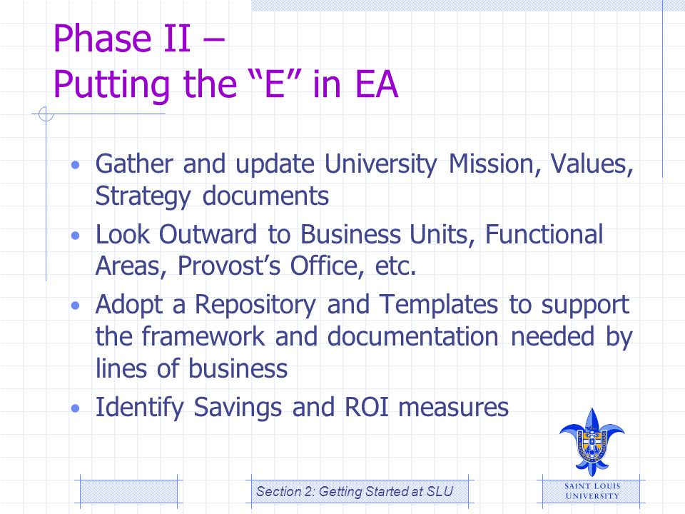 Phase II – Putting the E in EA
