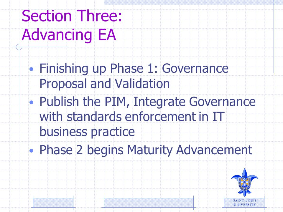 Section Three: Advancing EA