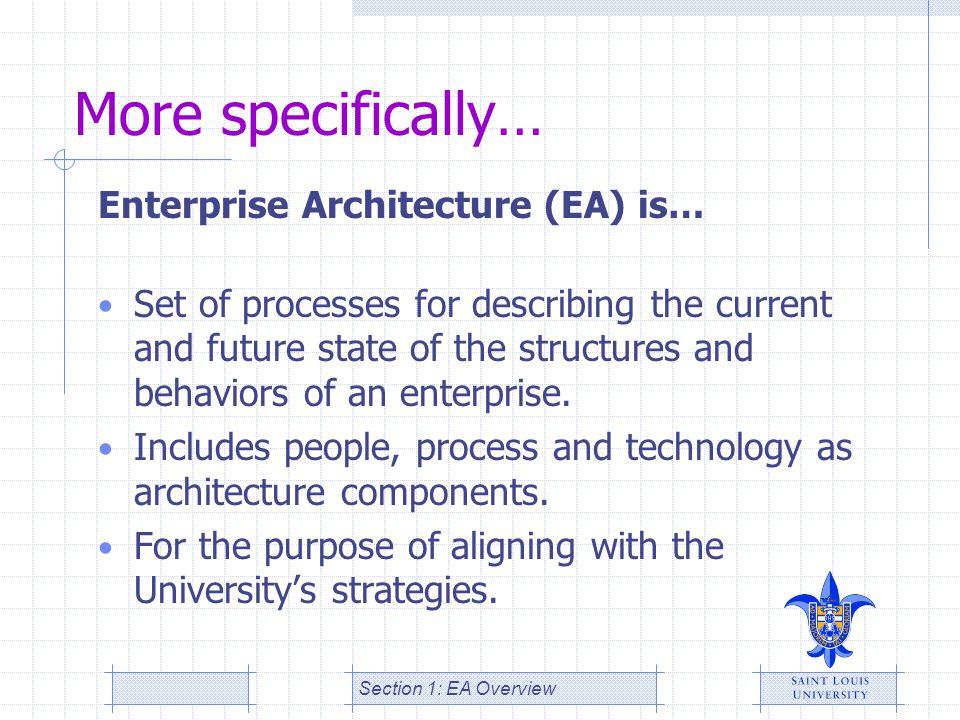 More specifically… Enterprise Architecture (EA) is…