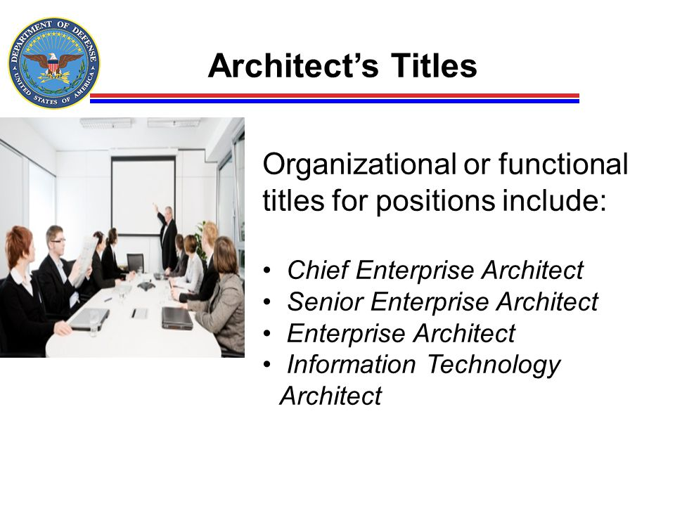 Architect's Titles Organizational or functional titles for positions include: Chief Enterprise Architect.