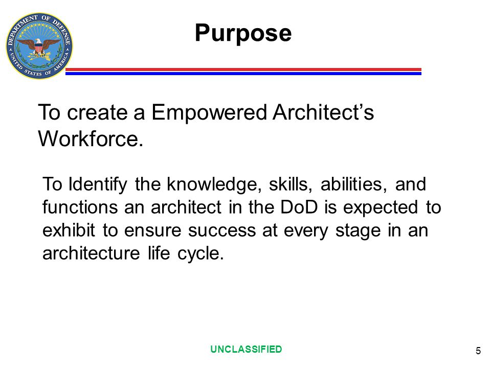 Purpose To create a Empowered Architect's Workforce.