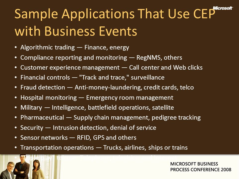 Sample Applications That Use CEP with Business Events