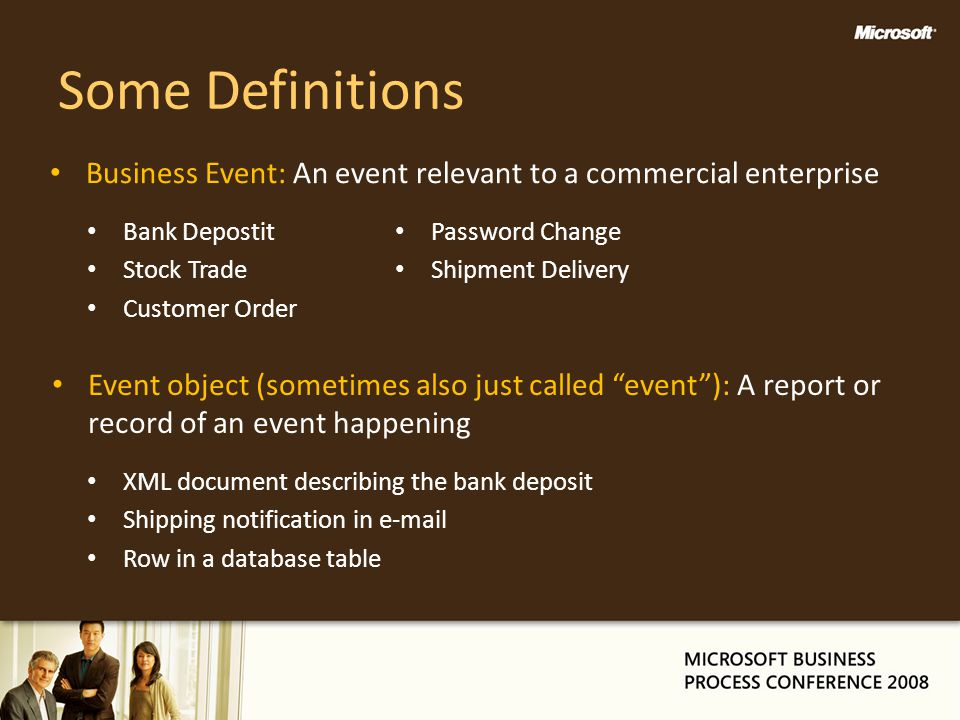 Some Definitions Business Event: An event relevant to a commercial enterprise. Bank Depostit. Stock Trade.