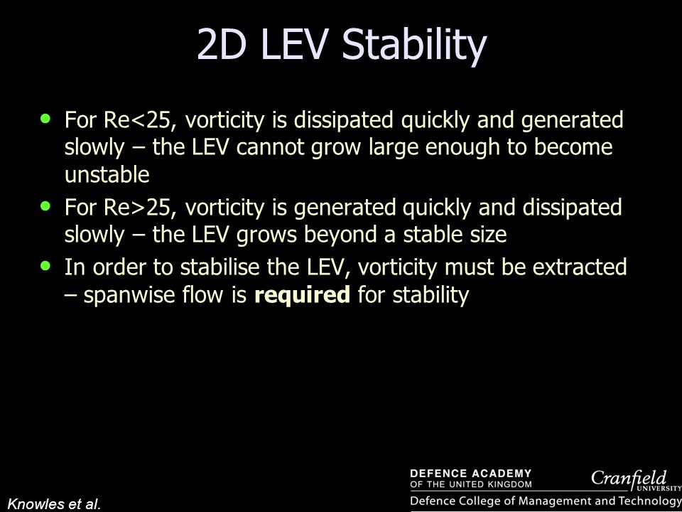 2D LEV Stability For Re<25, vorticity is dissipated quickly and generated slowly – the LEV cannot grow large enough to become unstable.