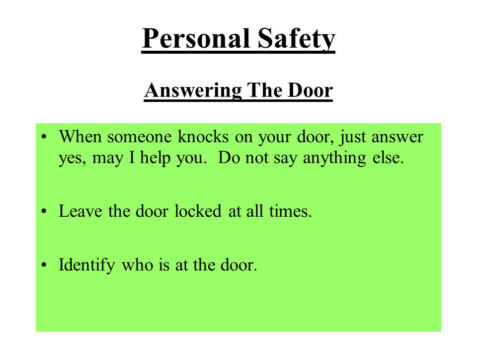 Personal Safety Answering The Door