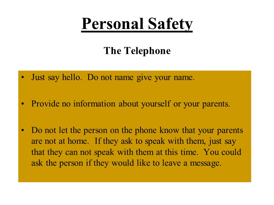 Personal Safety The Telephone