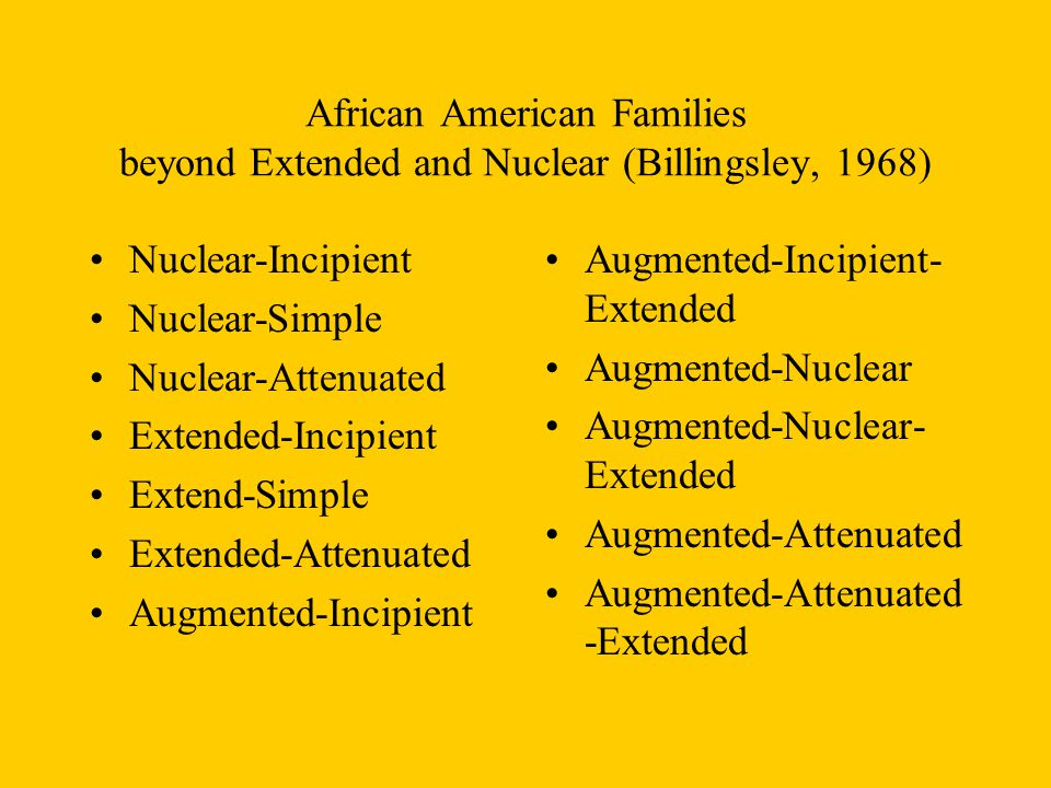 African American Families beyond Extended and Nuclear (Billingsley, 1968)