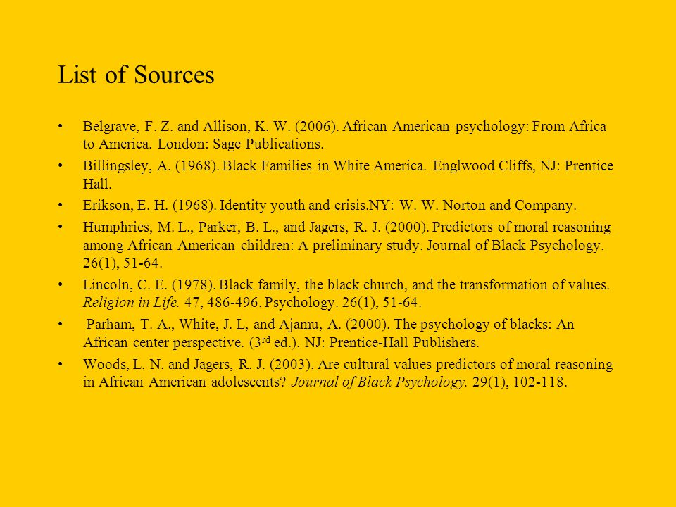 List of Sources Belgrave, F. Z. and Allison, K. W. (2006). African American psychology: From Africa to America. London: Sage Publications.