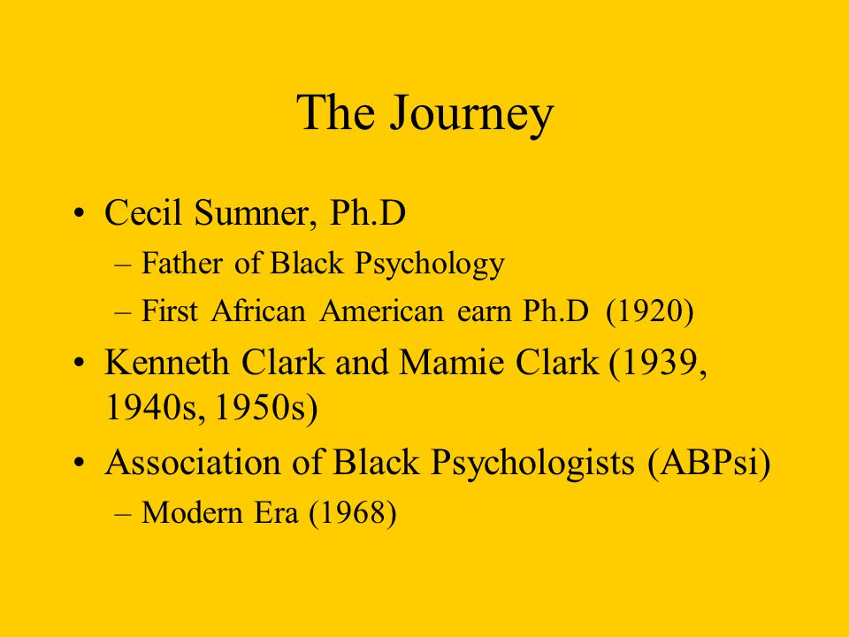 The Journey Cecil Sumner, Ph.D