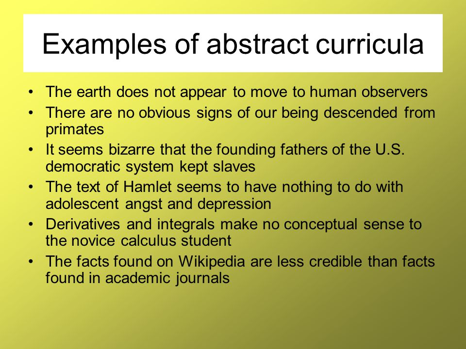 Examples of abstract curricula