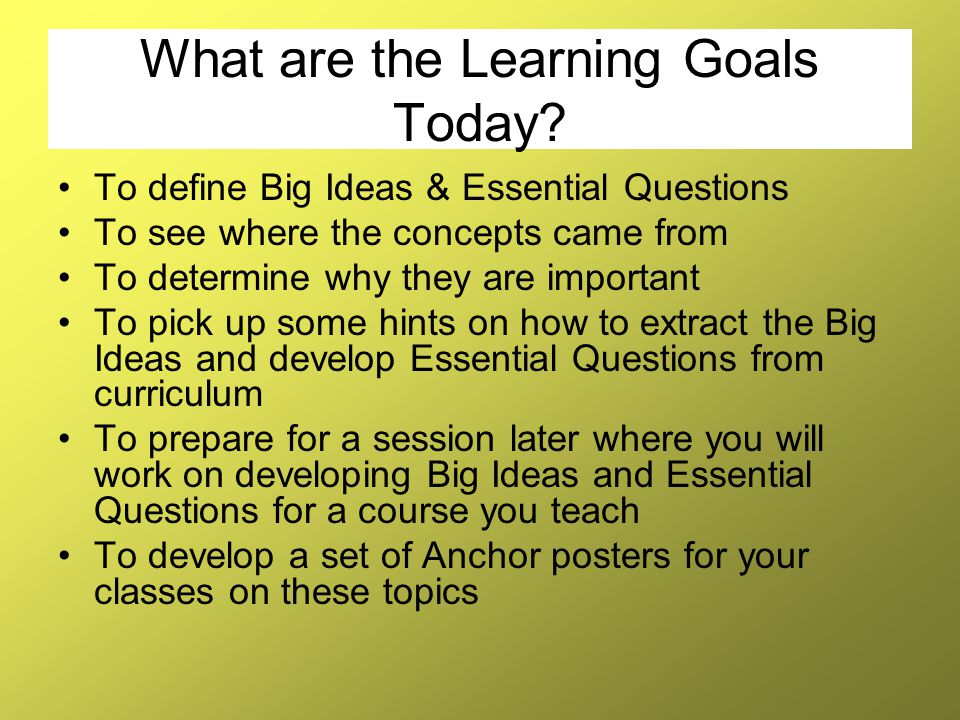 What are the Learning Goals Today