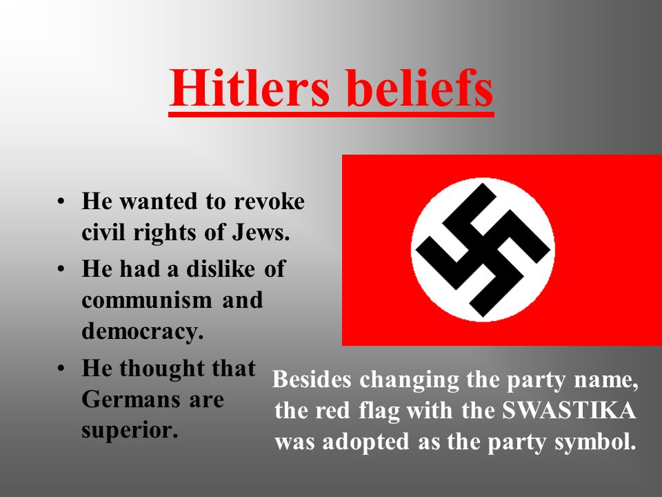 Hitlers beliefs He wanted to revoke civil rights of Jews.