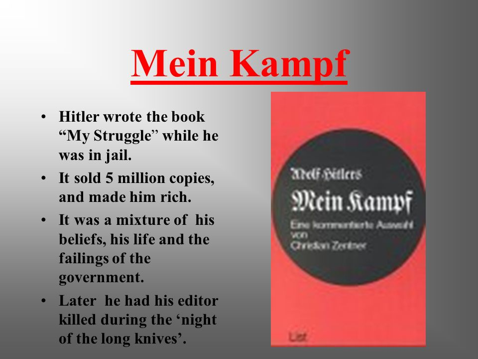 Mein Kampf Hitler wrote the book My Struggle while he was in jail.