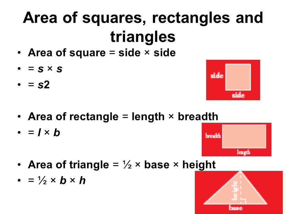 Area of squares, rectangles and triangles