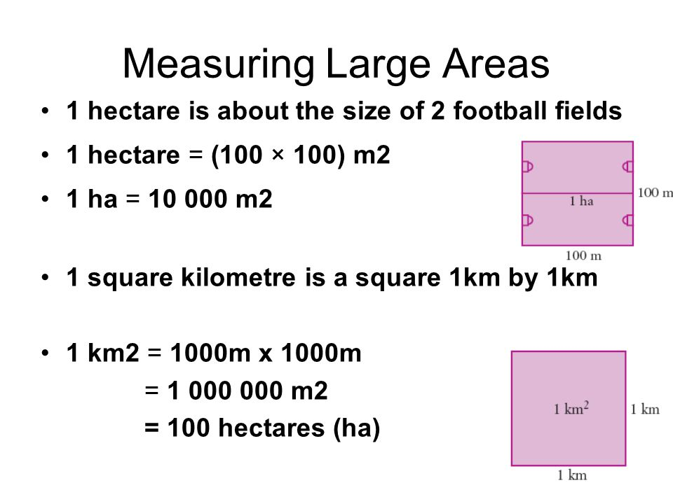 Measuring Large Areas 1 hectare is about the size of 2 football fields