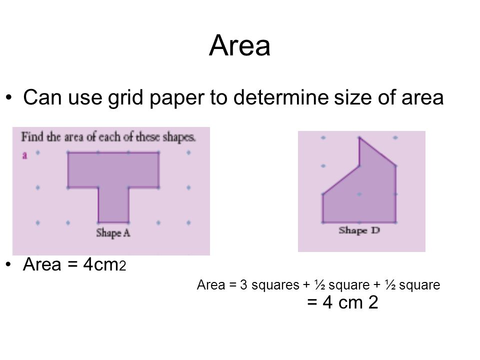 Area Can use grid paper to determine size of area Area = 4cm2