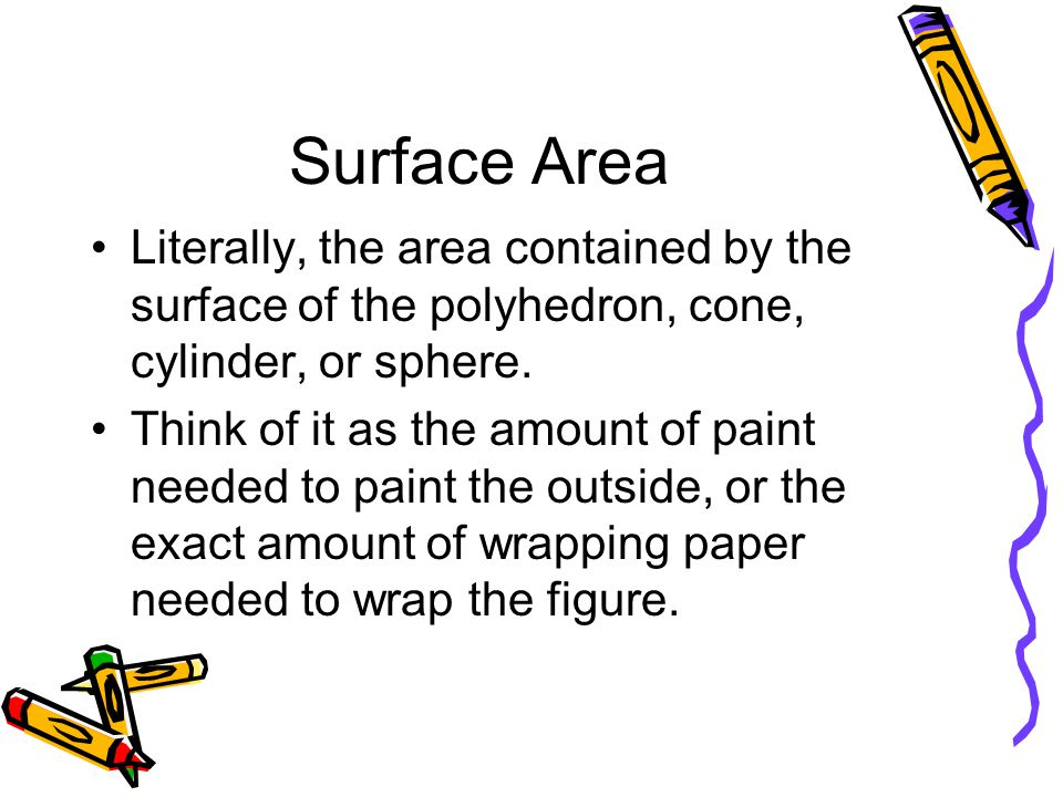 Surface Area Literally, the area contained by the surface of the polyhedron, cone, cylinder, or sphere.