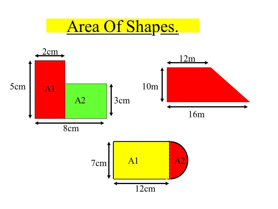 Area Of Shapes. 8cm 2cm 5cm 3cm A1 A2 16m 12m 10m 12cm 7cm
