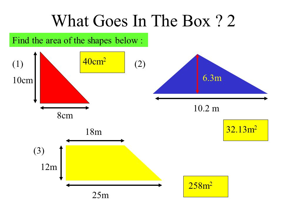 What Goes In The Box 2 Find the area of the shapes below : (1) 8cm