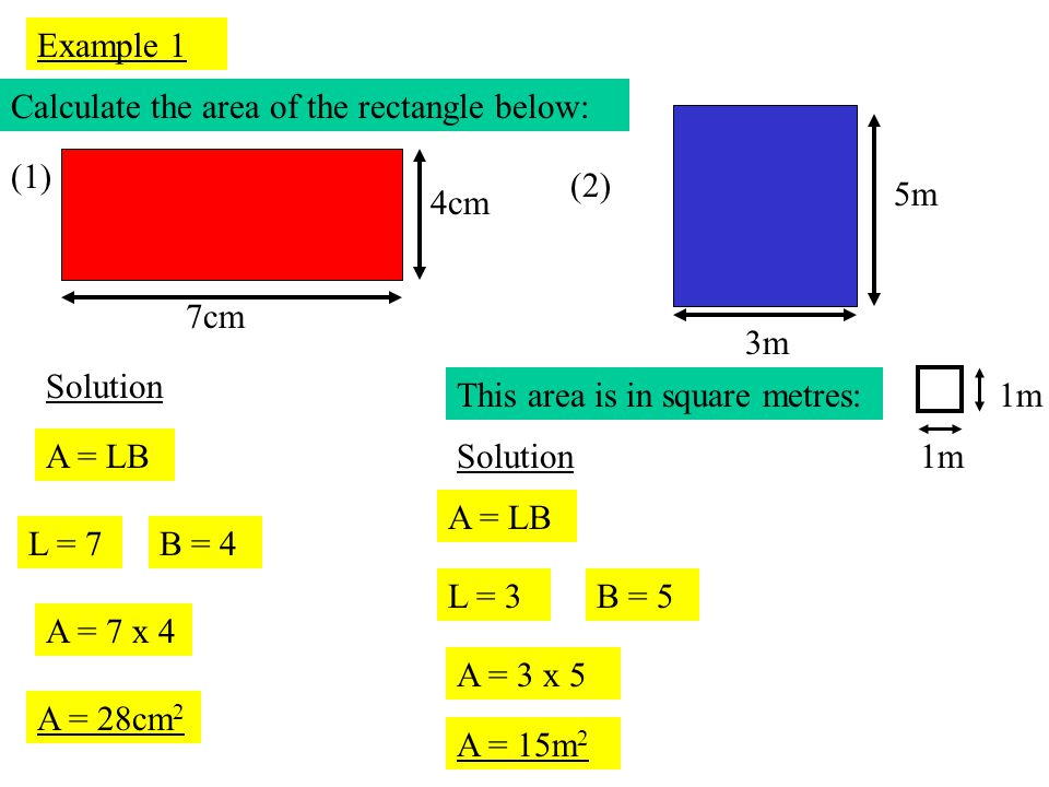 Example 1 Calculate the area of the rectangle below: (2) 3m. 5m. 7cm. 4cm. (1) Solution. This area is in square metres: