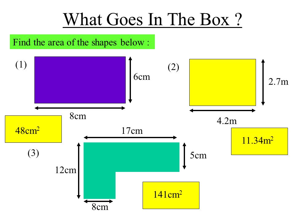 What Goes In The Box Find the area of the shapes below : (1) 8cm 6cm