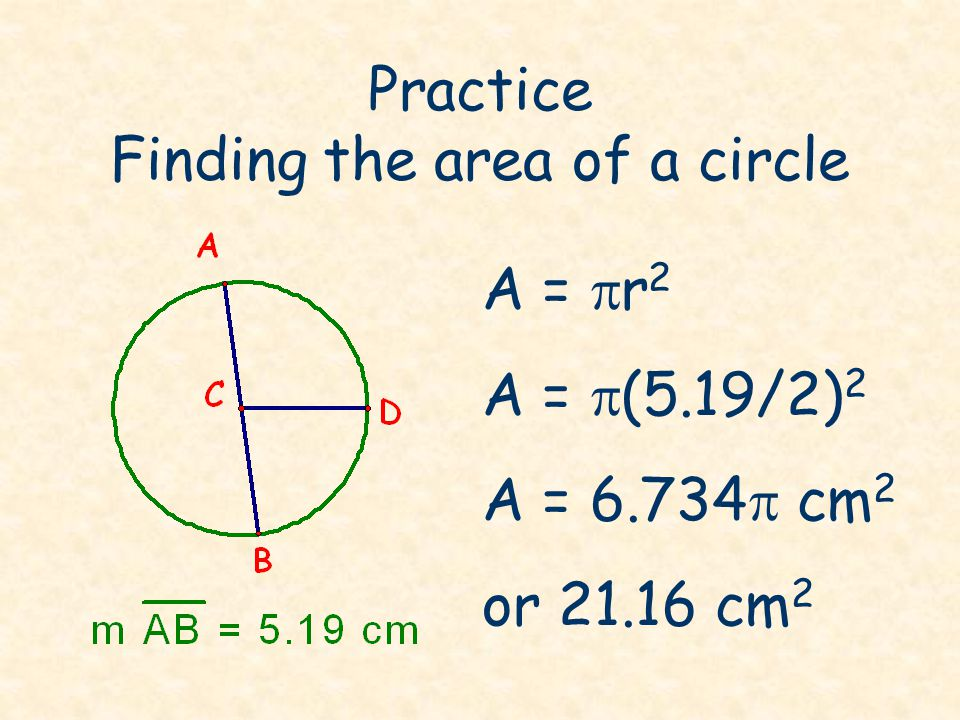 Practice Finding the area of a circle
