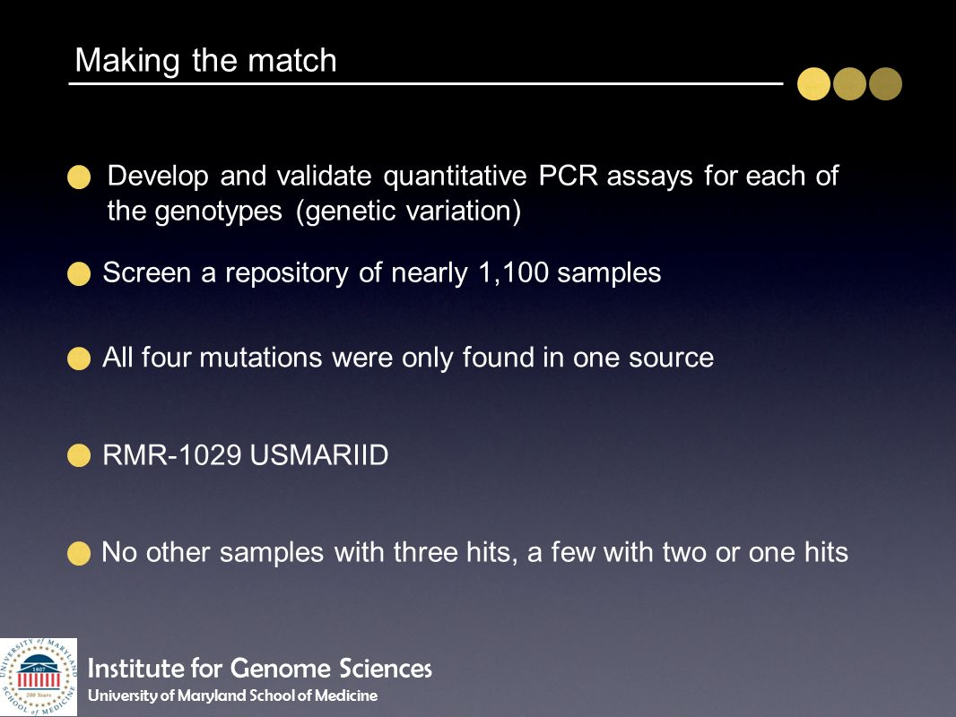 Making the match Develop and validate quantitative PCR assays for each of the genotypes (genetic variation)