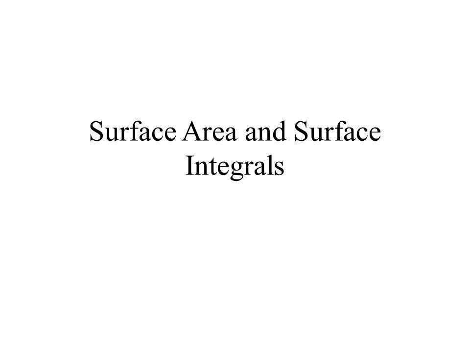 Surface Area and Surface Integrals