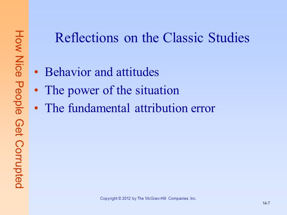 Reflections on the Classic Studies