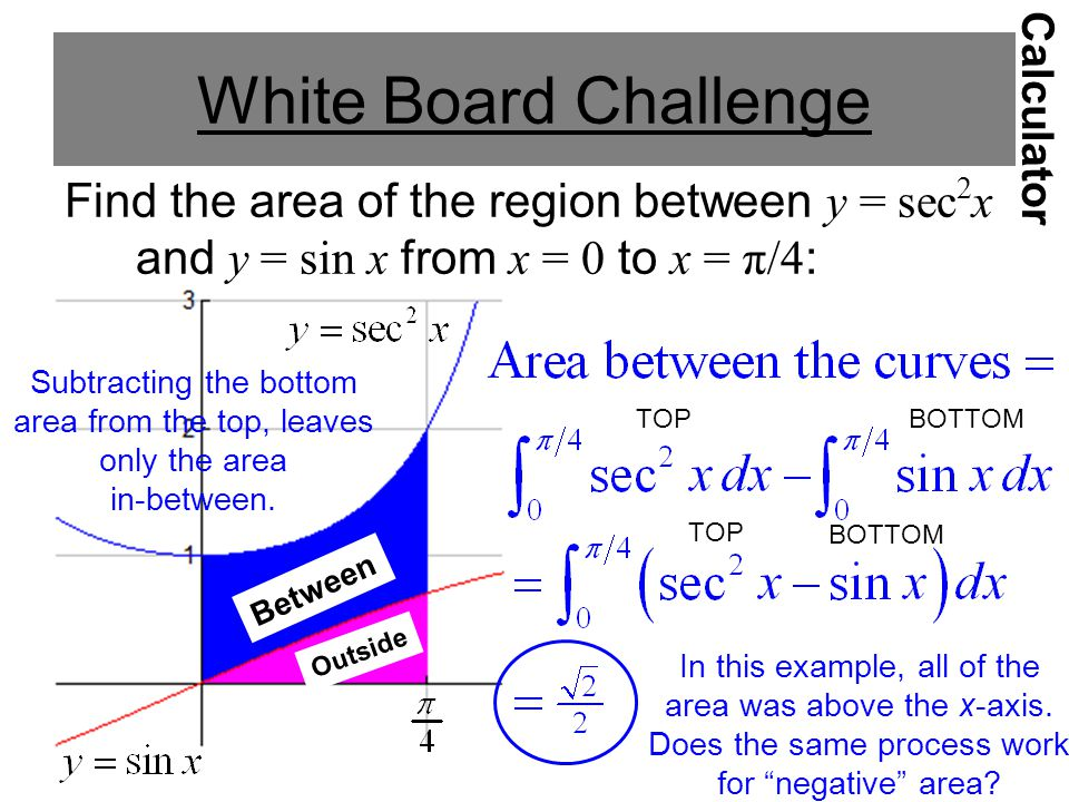 White Board Challenge Calculator. Find the area of the region between y = sec2x and y = sin x from x = 0 to x = π/4: