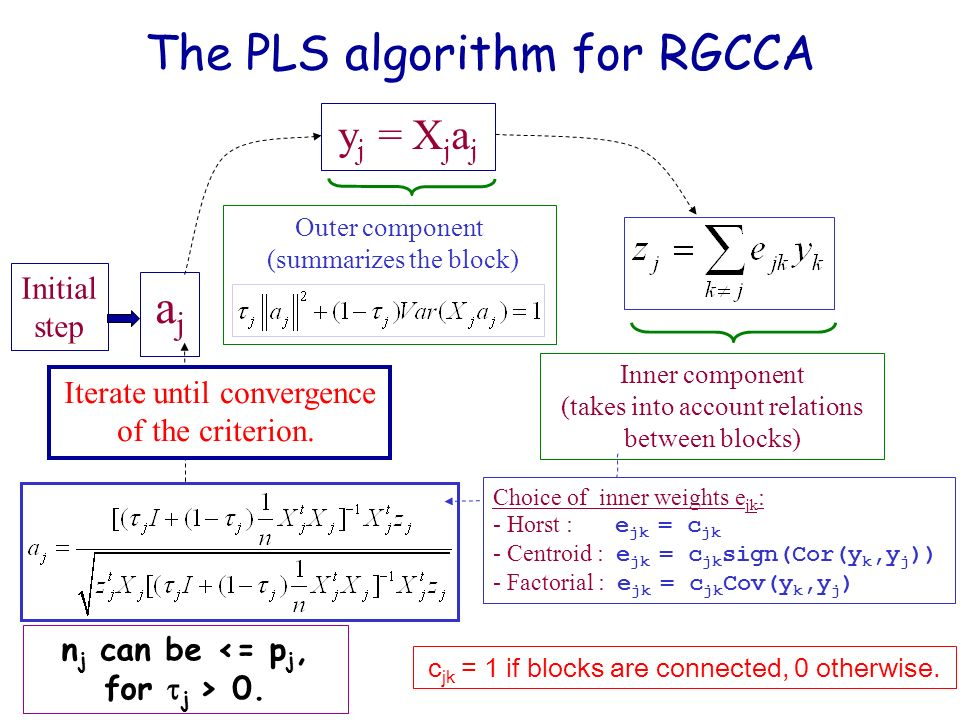 The PLS algorithm for RGCCA