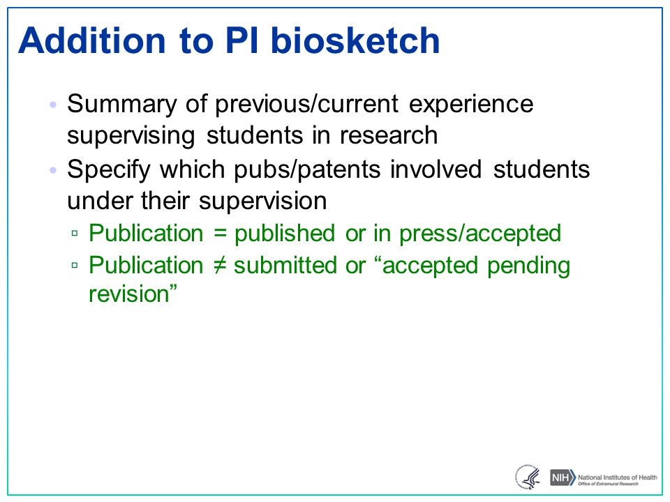 Addition to PI biosketch