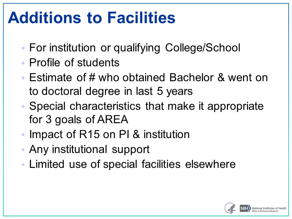 Additions to Facilities