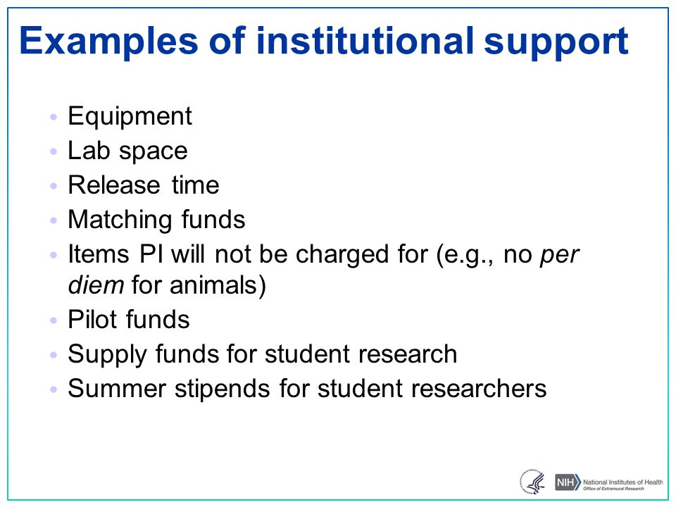 Examples of institutional support